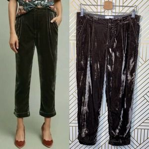 Anthropologie Ett:Twa Cuffed Velvet Trousers Pants